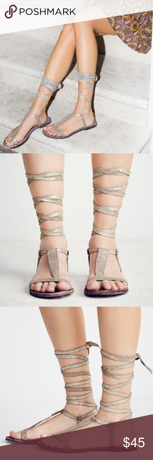 e6e13ee5b7c7 NEW Free People Dahlia Lace-Up Sandal Sunkissed This pair of Free People  Dahlia sandals is absolutely stunning! Open toe sandals with wrap-around  laces that ...