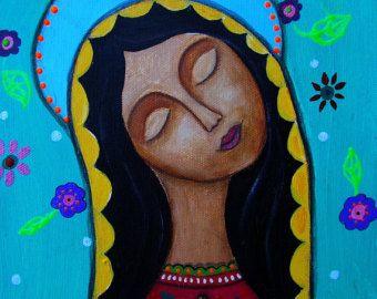 Mexicanas Virgens Guadalupe Flores florais Impressão da pintura por Pristine Turkus