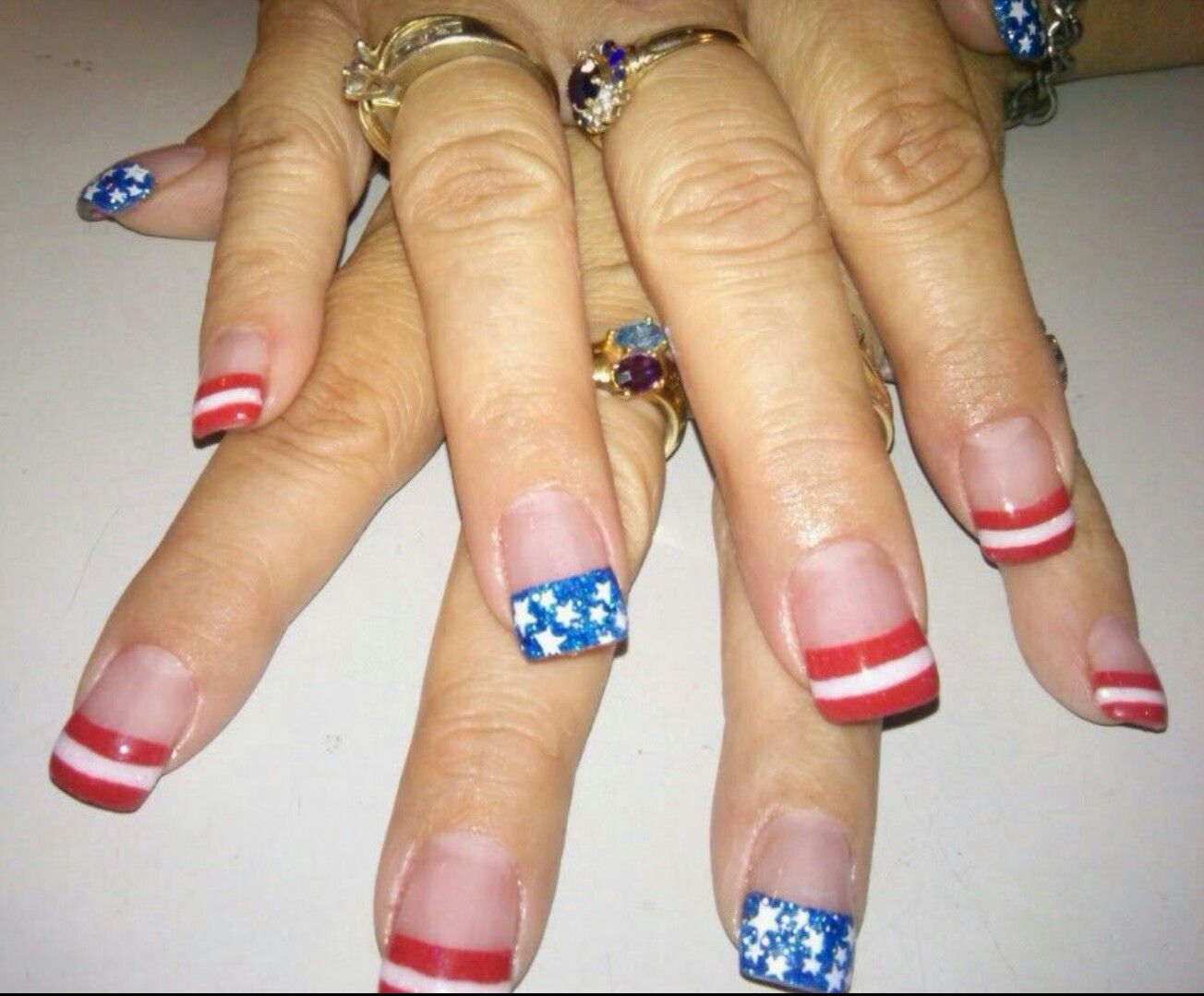 Fourth of July nail design! Red white and blue acrylic nails with ...