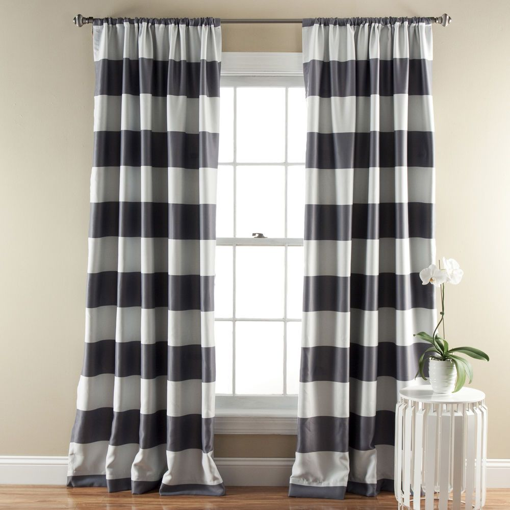 Garden window coverings  lush decor horizontal stripe blackout inch curtain panel pair