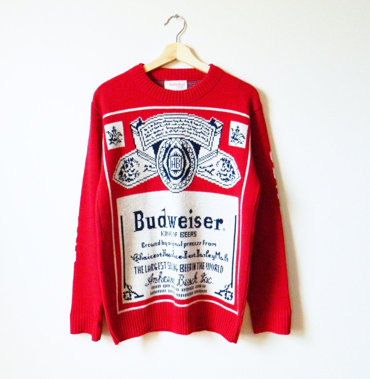 Rare Vintage Budweiser Sweater / 1980s Knit Pullover Sweater ...