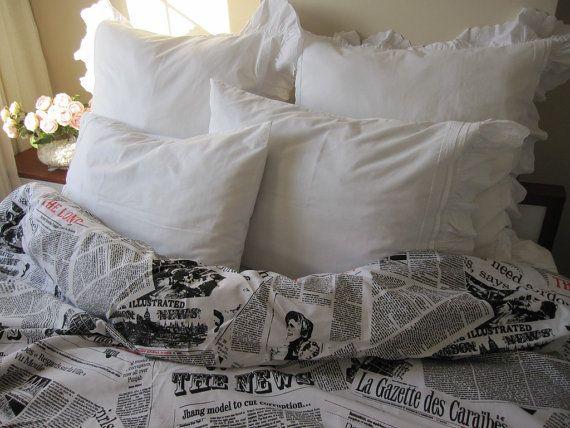Newspaper Print Duvet Cover King Size Book Bedding By Nurdanceyiz