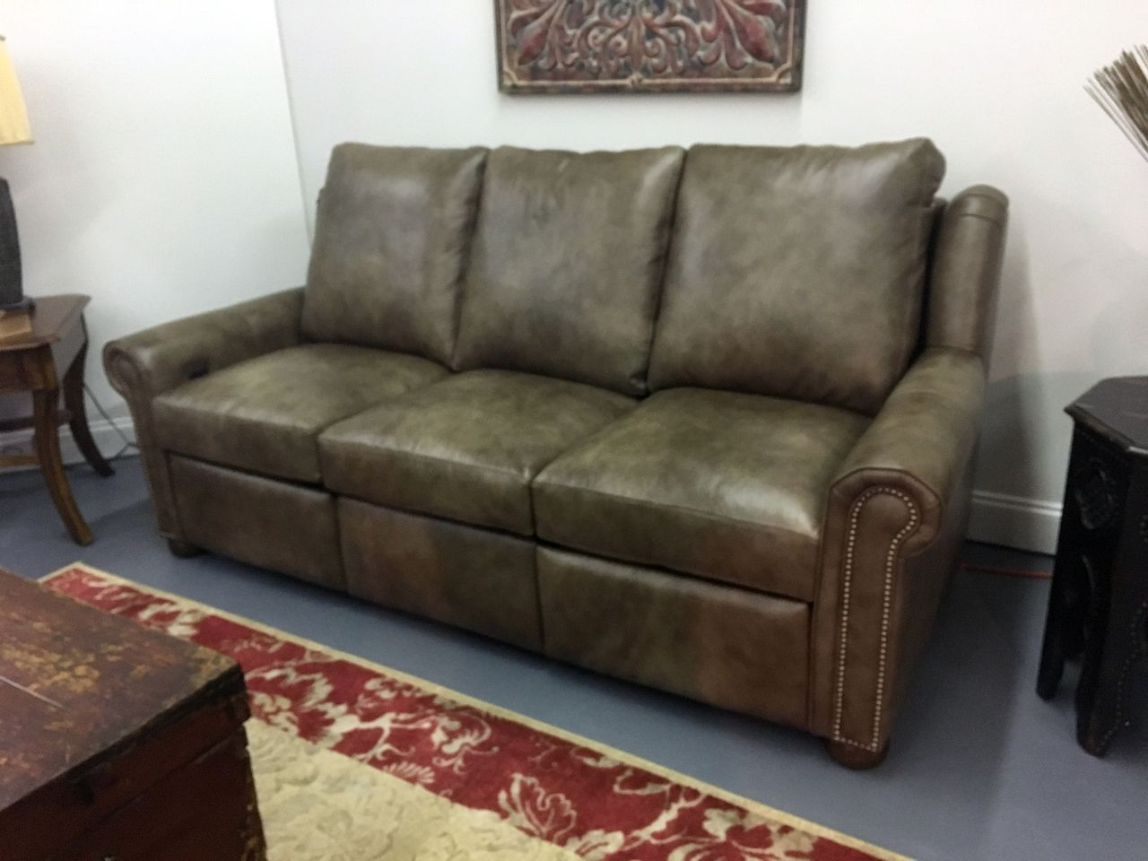 Frazier Recliner Sofa With Nails American Heritage Leather