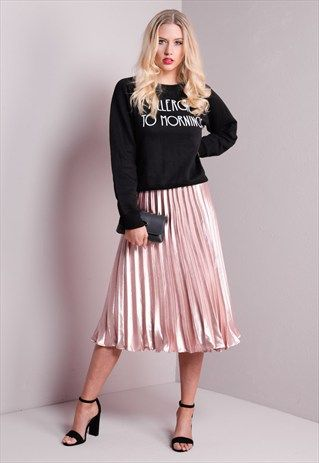 b9edb730976 PLEATED SATIN METALLIC MIDI SKIRT ROSE GOLD