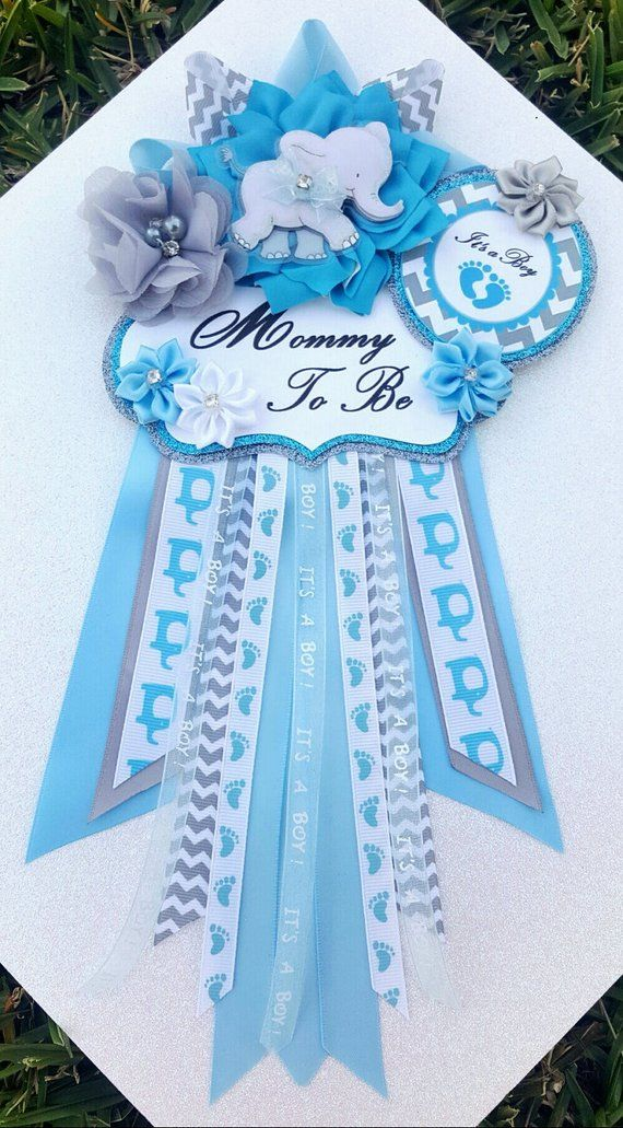 Baby Boy Elephant Baby Blue Cerulean Blue Gray Themed Mommy To Be
