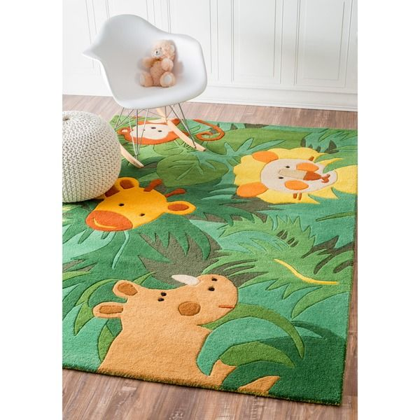Nuloom Handmade Kids Safari Animals Green Wool Rug 5 X