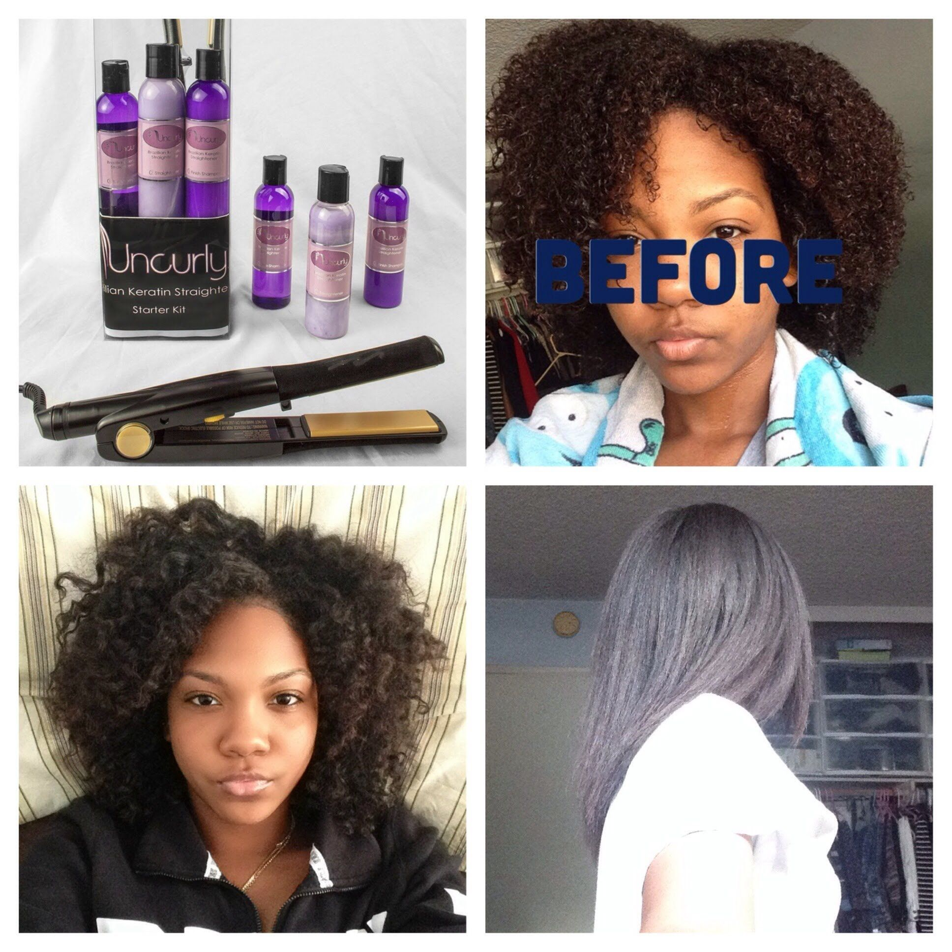 An independent review of Uncurly DIY Brazilian Keratin Straightener's effects on AA natural hair.  Uncurly loosens curl while retaining curl pattern and allows the versatility of wearing hair straight or curly while preventing frizz.  UNCURLY.com
