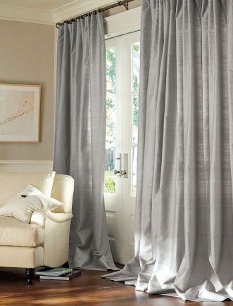 Pottery barn silk curtains -