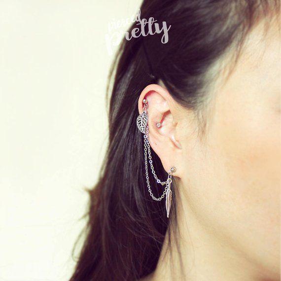 ear cartilage piercing chain jewelry 304 316l stainless steel Flower /& Leaf helix to lobe chain earring helix earring 20g 16g dangle chain earring