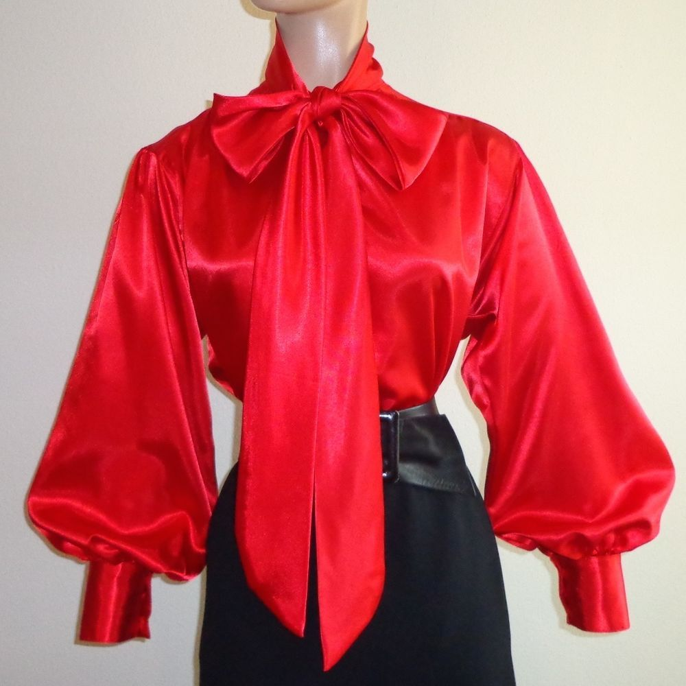 RED Shiny LIQUID SATIN High Neck BOW BLOUSE vtg SECRETARY top S M L 1X 2X 3X #tamarstreasures #Blouse #EveningOccasion