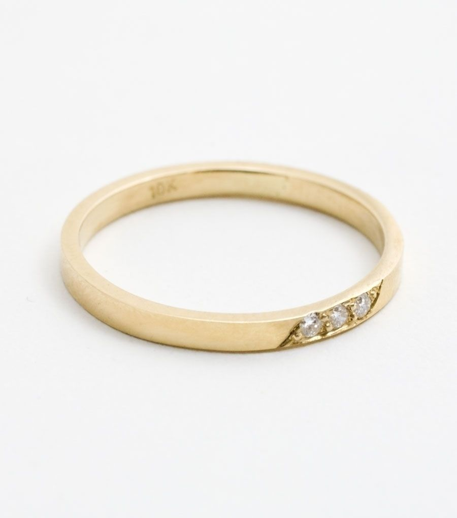 catbird :: shop by category :: JEWELRY :: Wedding & Engagement Rings :: Classic :: Flat Band - Three Diamonds
