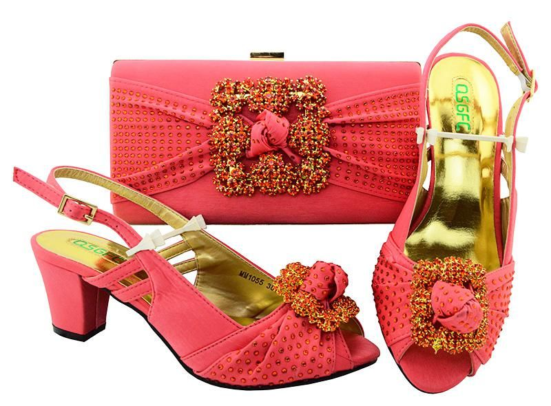 African aso ebi wedding party low heel shoes with clutches bag matching set  coral color fashion newest italian design SB8105-2. 23510760adf2