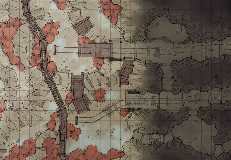 Damp Mine Exterior | Battle Maps | Dungeon maps, Fantasy map