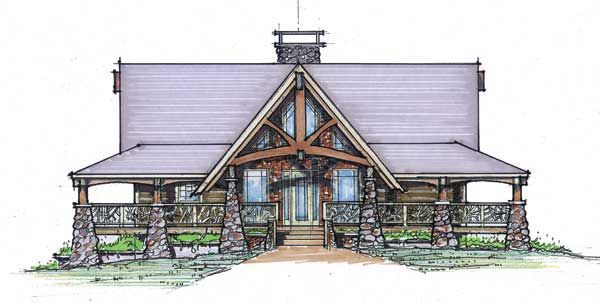 Timber frame house plan of natural element homes elevation for Timber frame ranch home plans