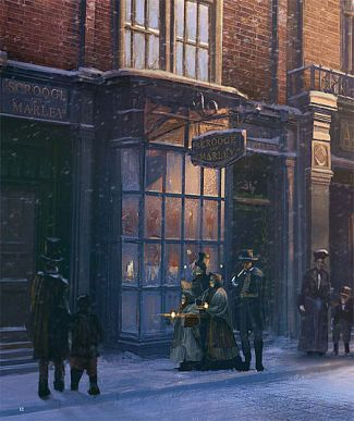Carolers At Scrooge S Counting House Christmas Carol Dickens Christmas Carol Victorian Christmas