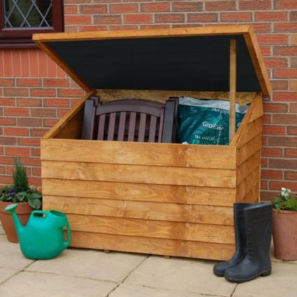 Blooma 4x3 Pent Roof Timber Storage Chest Assembly Required Image 1 Garden Tool Storage Wooden Garden Storage Garden Storage