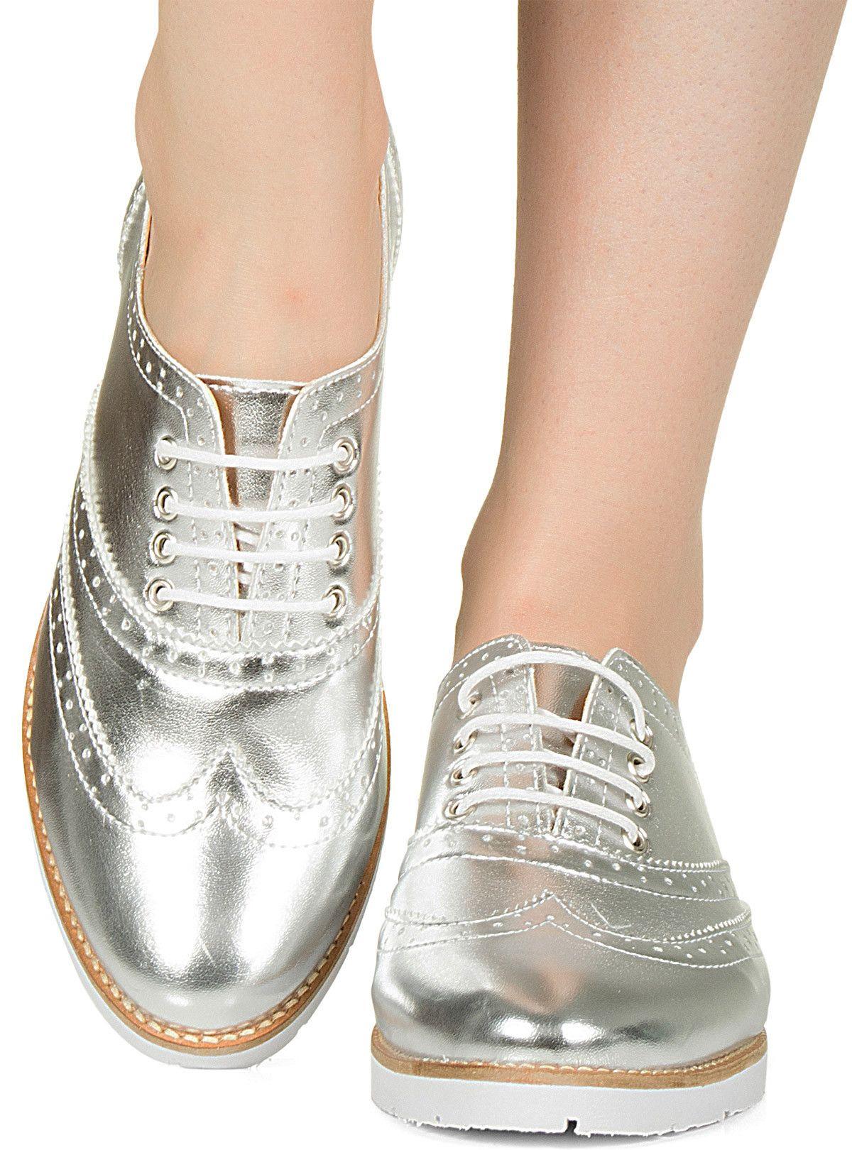 25bd2c7c52 Sapato oxford prata metalizado Taquilla - Taquilla - Loja online de sapatos  femininos