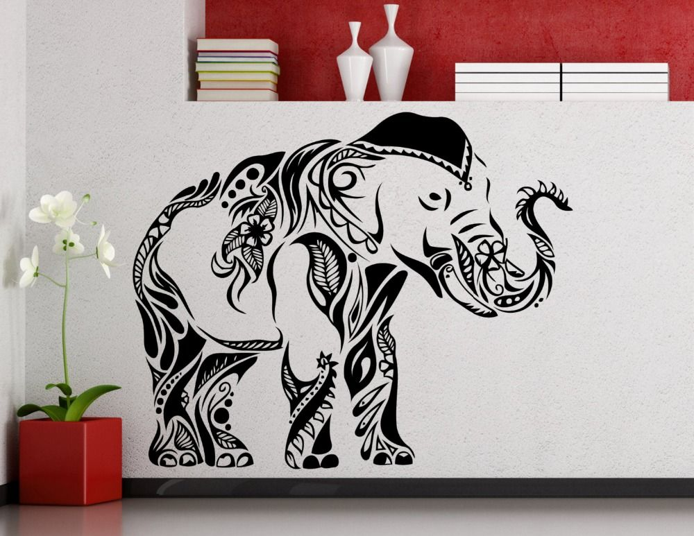 Happy Walking Elephant Wall Stickers Whole Tribal Pattern Elephant Art Wall Murals Indian Style Home R Elephant Wall Decals Darth Vader Wall Decal Wall Sticker