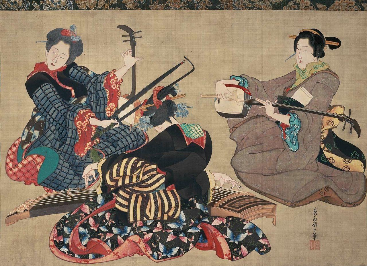 Three Women Playing Musical Instruments / Katsushika Oi