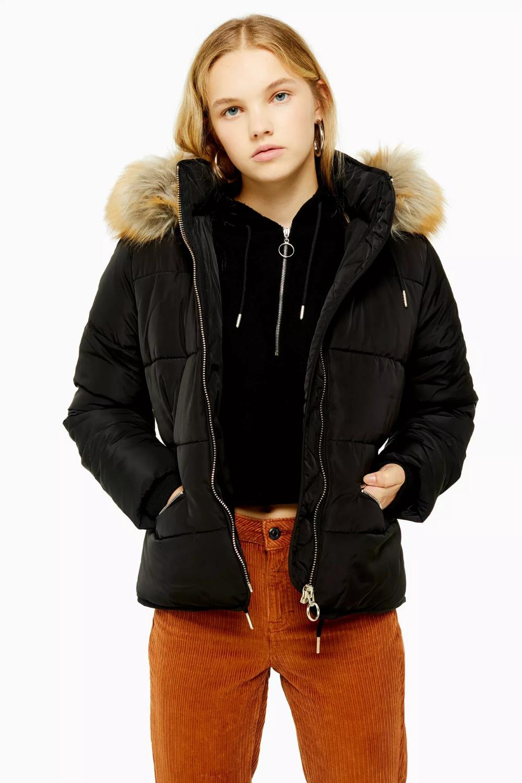 Black Detachable Faux Fur Hooded Padded Puffer Jacket