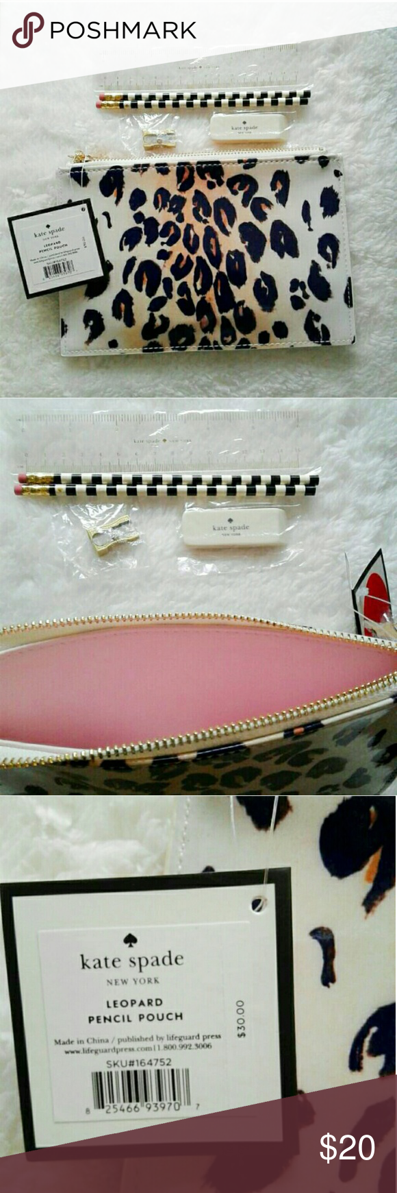 "New Kate Spade Leopard Pencil Case Brand new and authentic Kate Spade Leopard Pencil Case, can be used as makeup pouch.  8.5""x5.5""  Pouch includes: 2 pencils, pencil sharpener, eraser, & ruler kate spade Bags Cosmetic Bags & Cases"