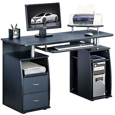 Piranha Large Black Computer Desk With 2 Drawers And 4 Shelves Pc 5g