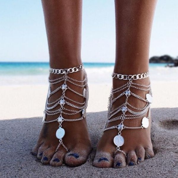 Victray Boho Tassel Anklets Coin Ankle Bracelets Summer Barefoot Beach Anklet Foot Chains Fashion Foot Jewelry for Women and Girls