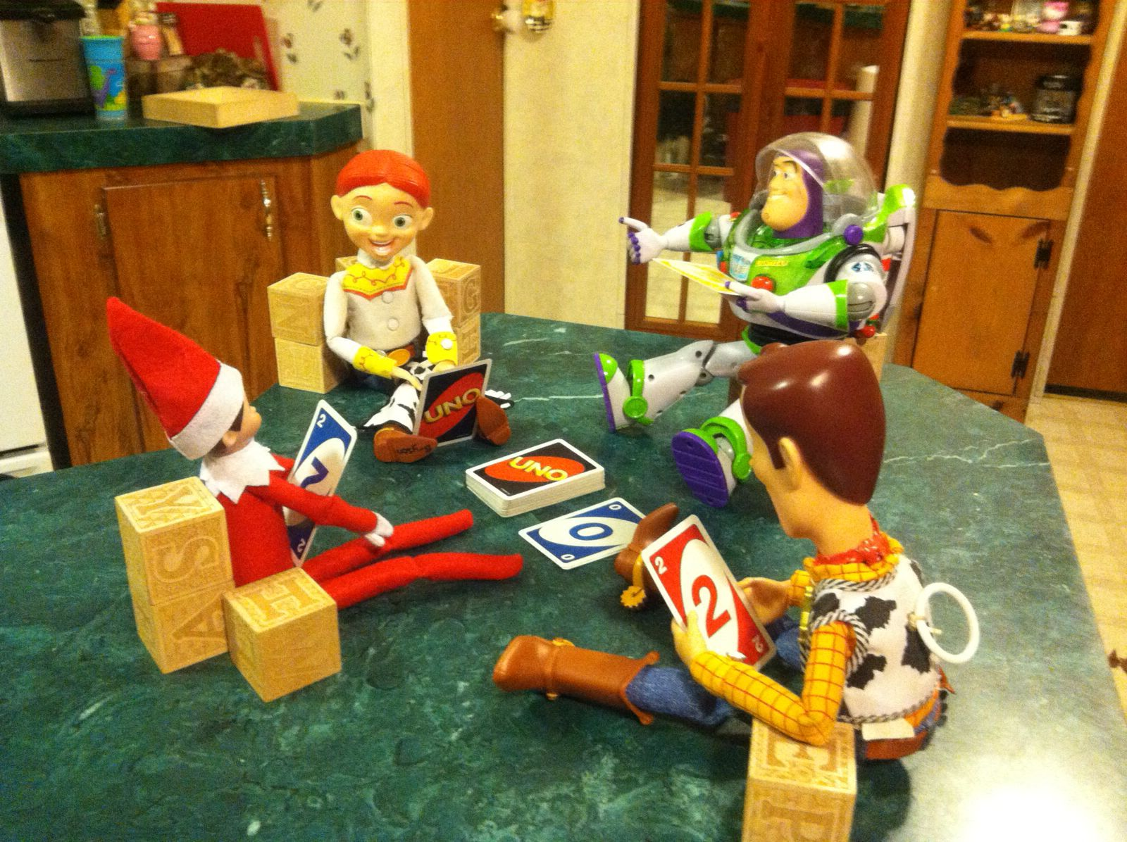 One of the elf on the shelf ideas my brother in law and his wife used for my nephews:)