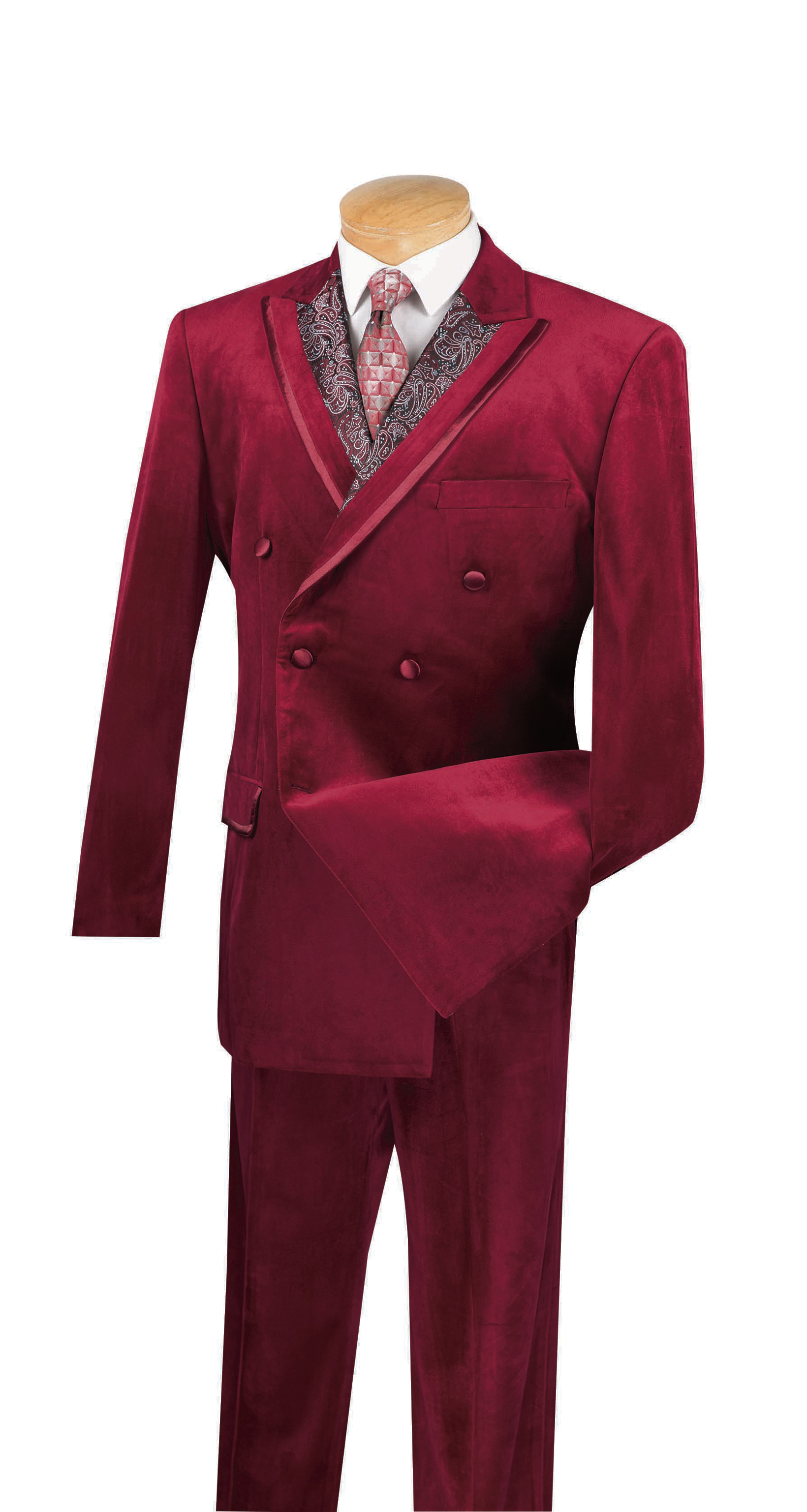 Vinci Men/'s Blue Textured 3pc Tuxedo Suit w// Black Lapel /& Trim NEW