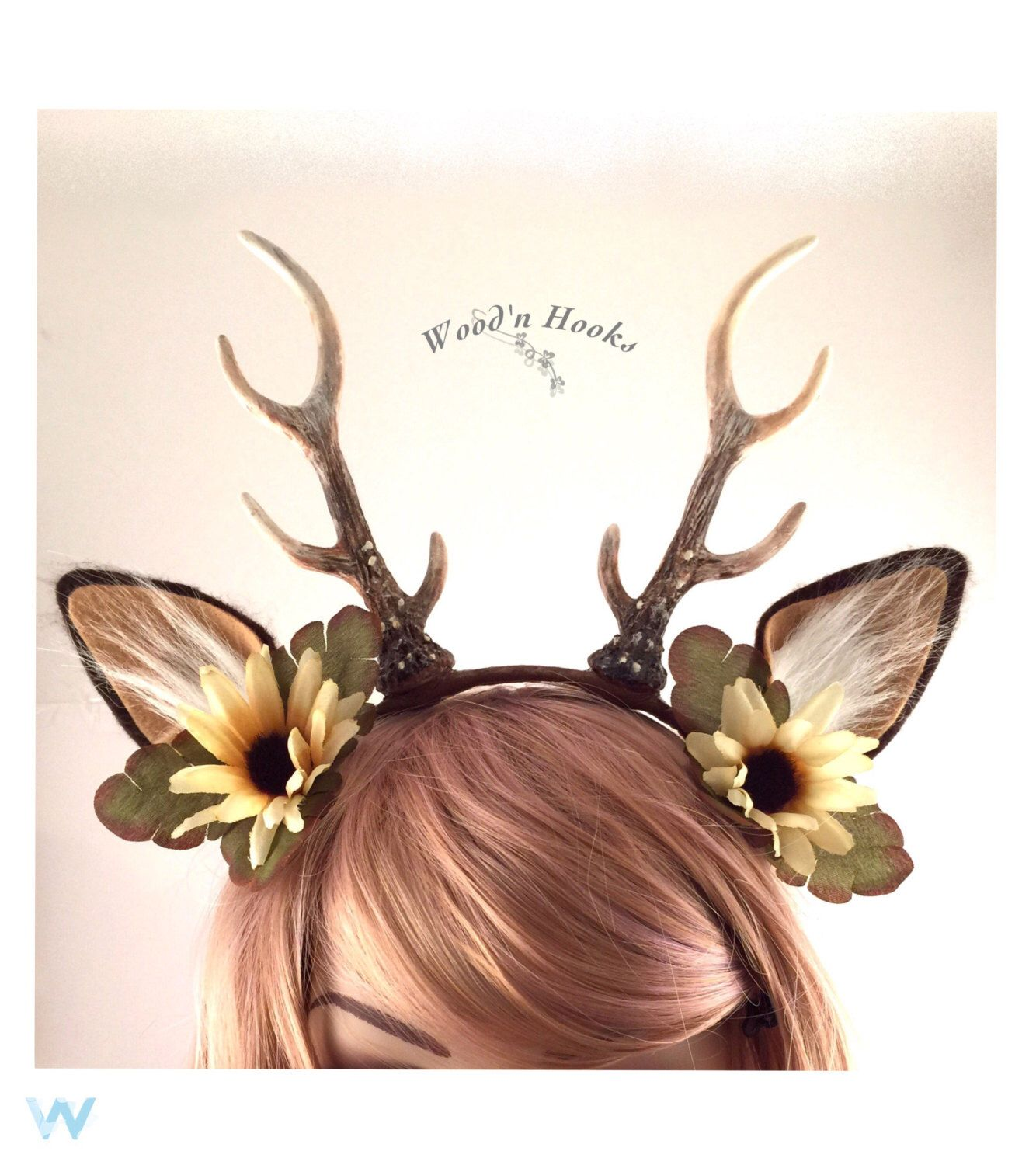Deer antler headband. Hair accessory. Beautiful for Halloween costume. Horn  crown fall craft 03bfc4478eb