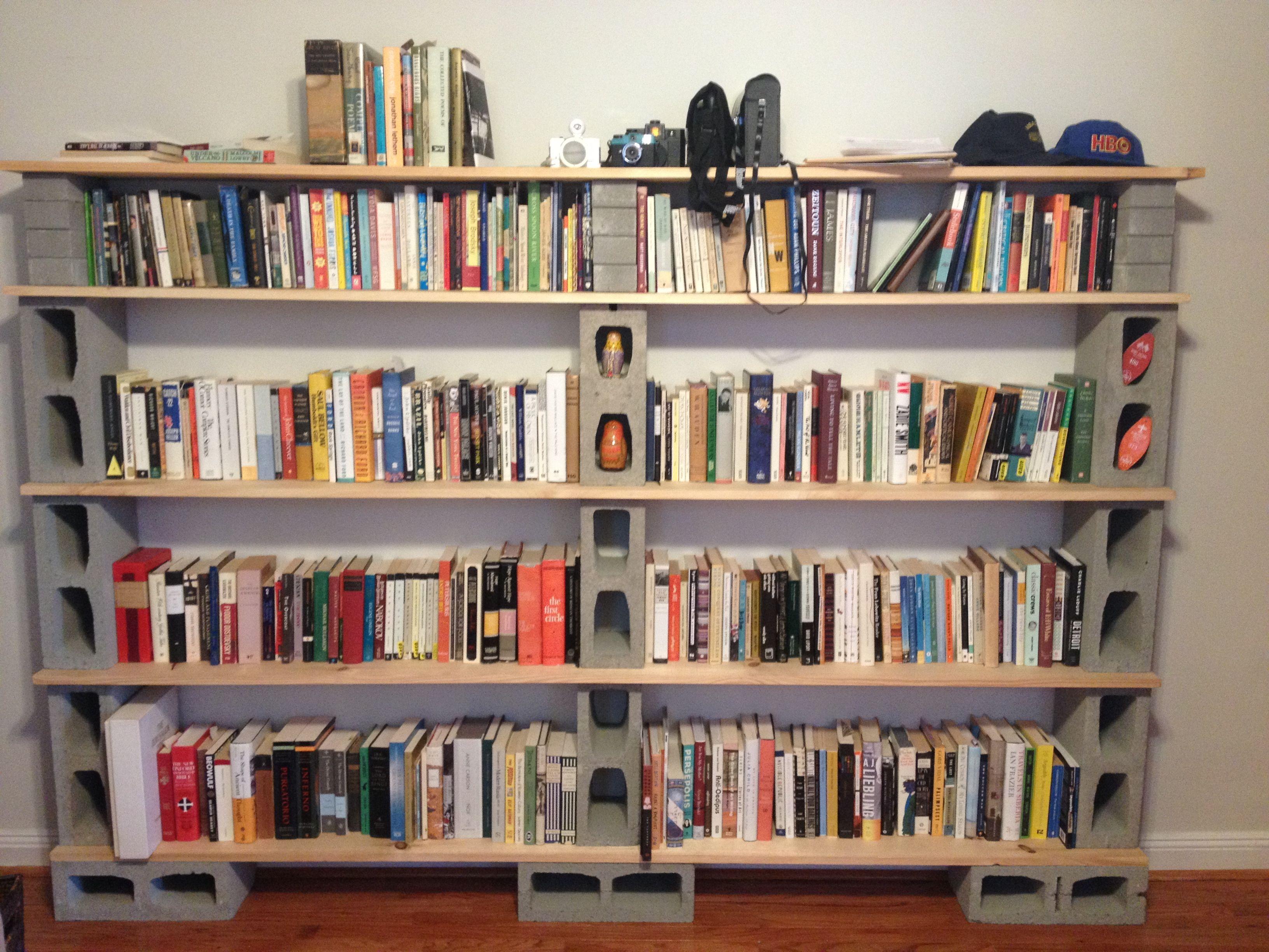 Diy cinderblock bookshelf creations pinterest for How to make cheap bookshelves