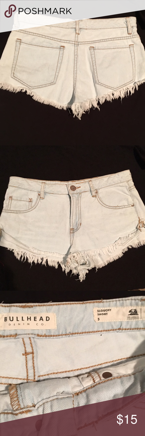 Bull Head Acid Washed cut off Jean shorts size 0 Acid Washed Slouchy fit cut off  jeans shorts size small - good clean condition. Bull Head  Shorts Jean Shorts