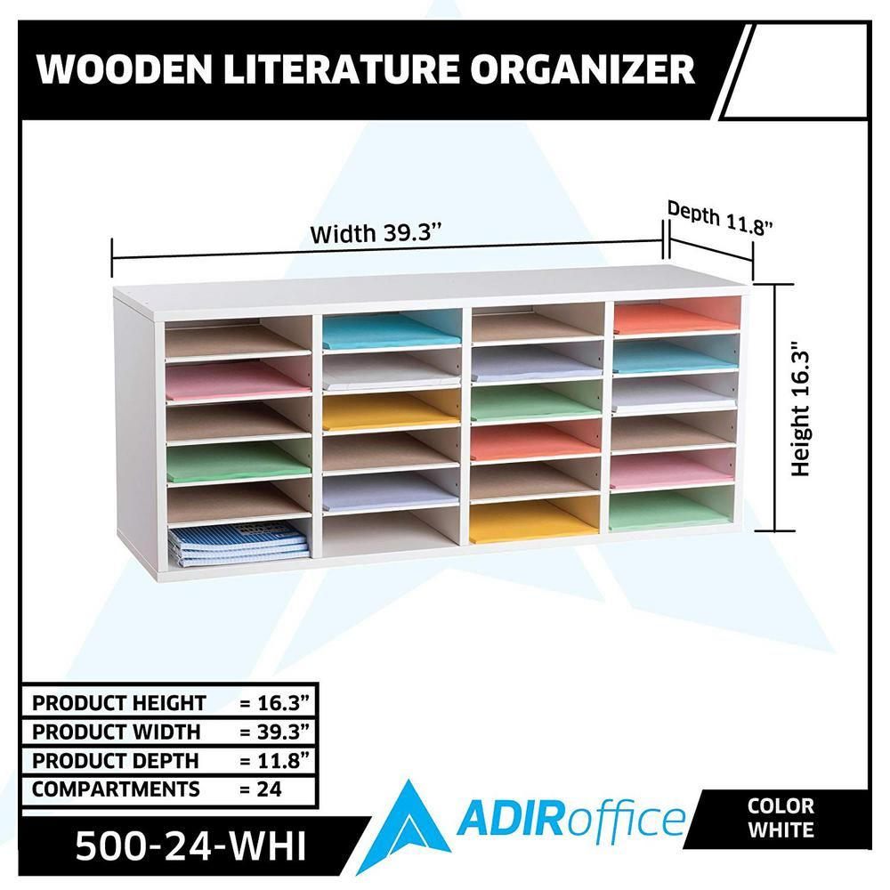 AdirOffice Wood Adjustable 24 Compartment Literature Organizer, White-500-24-WHI - The Home Depot