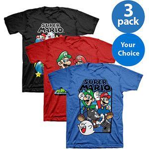Nintendo Super Mario Kids 39 Graphic Tee 3 Pack Kids