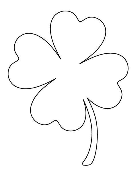 Printable Full Page Large Four Leaf Clover Pattern Use The
