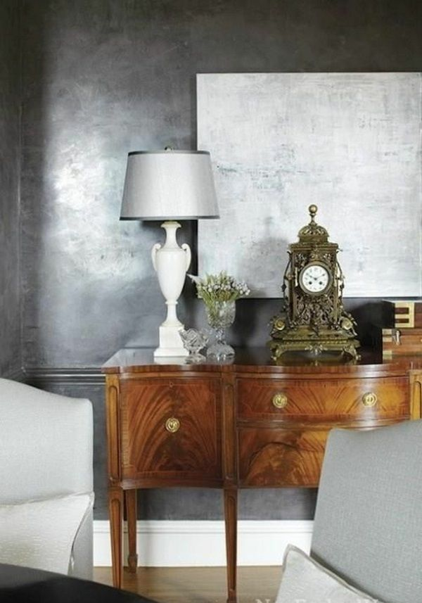 glanz wandgestaltung mit farbe wand streichen ideen grau schein streichen pinterest. Black Bedroom Furniture Sets. Home Design Ideas