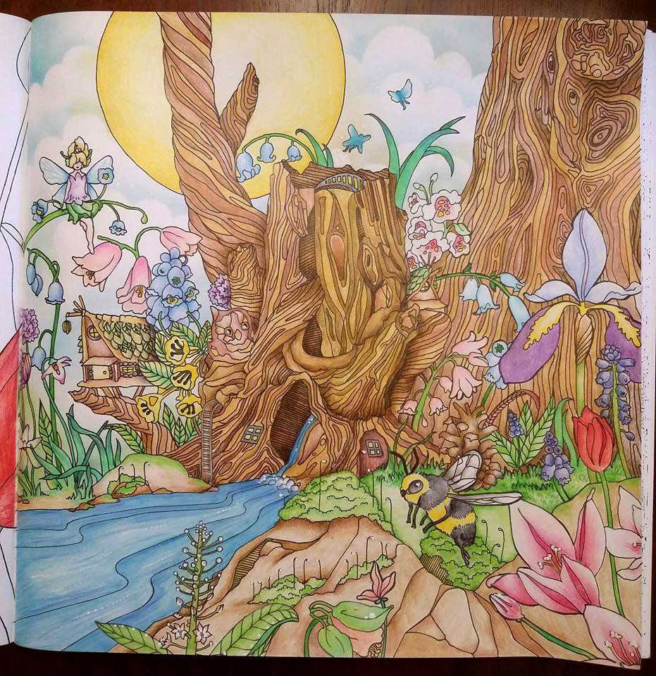 fairy forest by michelle slaco from legendary landscapes adult coloring book colored pages. Black Bedroom Furniture Sets. Home Design Ideas