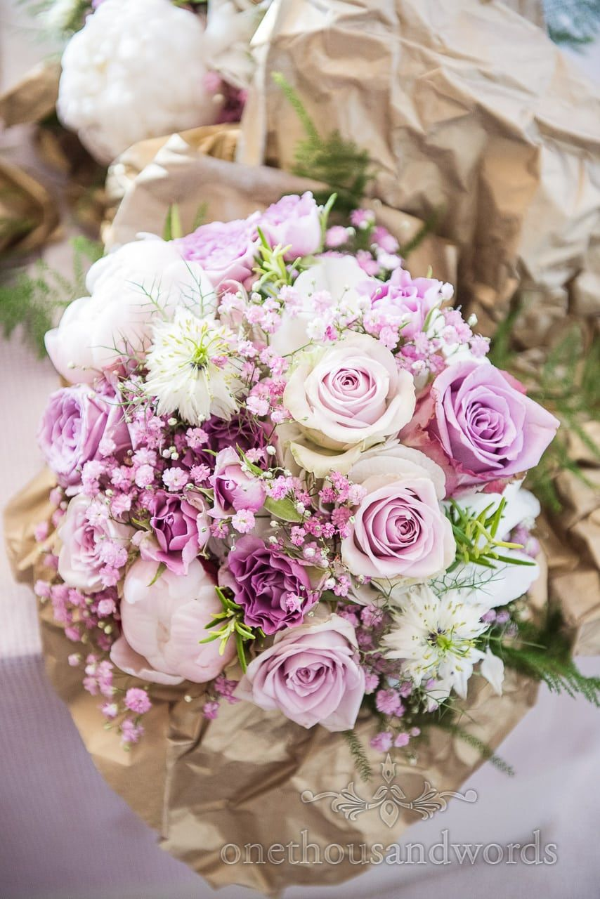 Purple And White Wedding Flowers Bouquet With Rosemary And Green