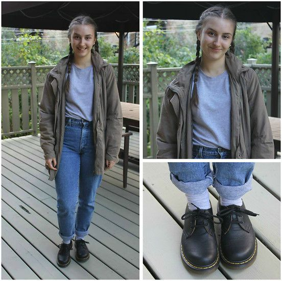 Zellers Coat, Thrifted Shirt, Thrifted Mom Jeans, Dr. Martens Shoes