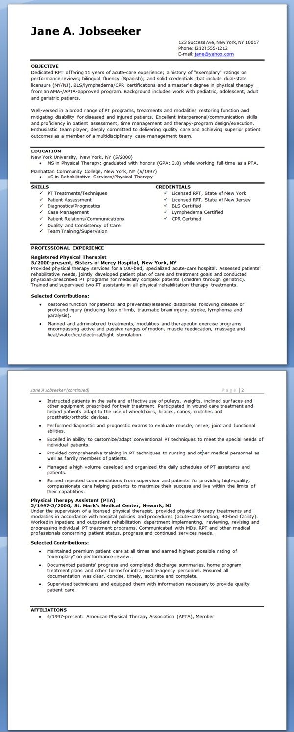 Physical Therapist Resume Example  Physical Therapy