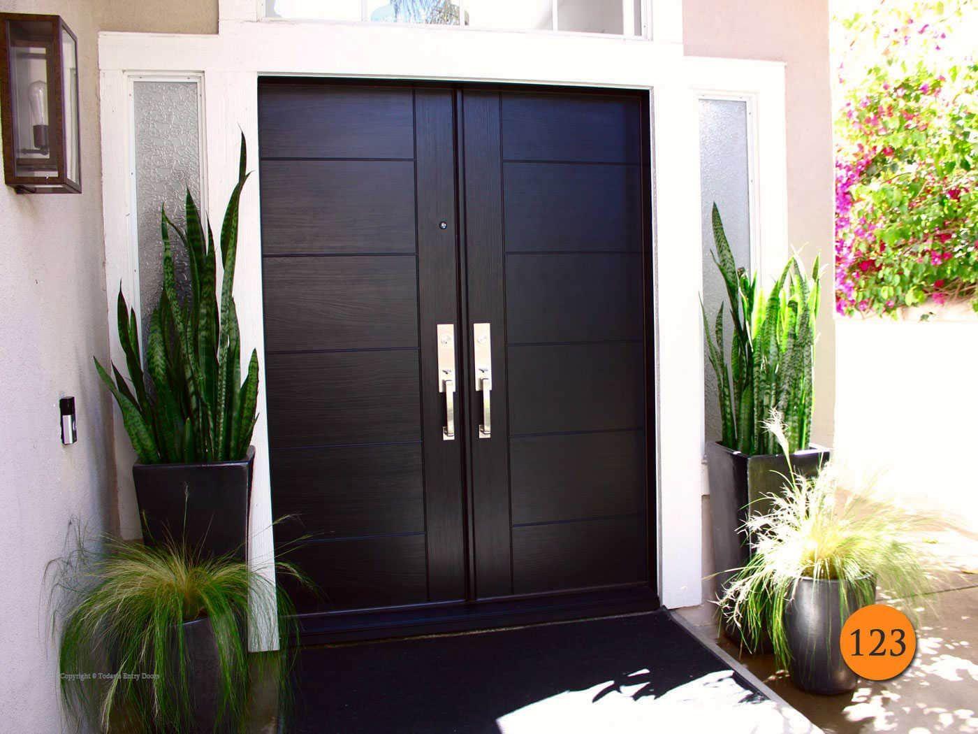 Modern 60 X80 Plastpro Dmt51 Fiberglass Double Entry Door Installed In Laguna Nigue Contemporary Entry Doors Fiberglass Double Entry Doors Double Entry Doors