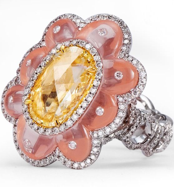 Pink Crystal ring with Oval fancy Yellow Rose Cur Diamond and Round Pave Diamonds. By La Reina. ht