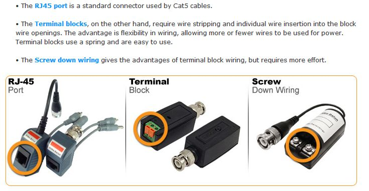 use of video balun and cat5 cable for cctv cameras electronics rh pinterest com Home Security Camera Wiring Home Security Camera Wiring