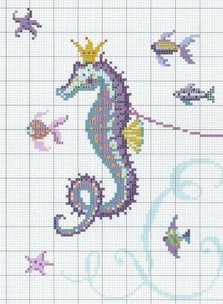 seahorse chart | Sewing | Pinterest | Häkeldecke, Hama und Stiche