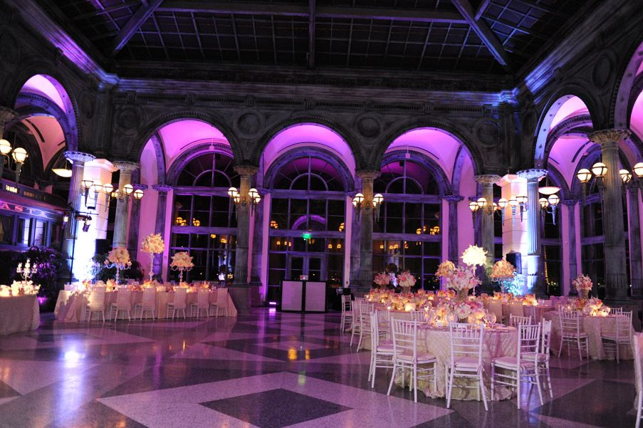 Uplighting Makes Such An Incredible Difference Pink Green And White Wedding Decor With Crystal Accents Purple