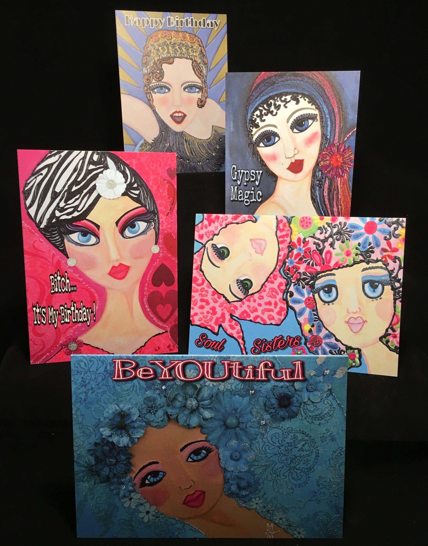 Big Eye Art Greeting Cards Mixed Media Prints 5x7 Variety Five Pack