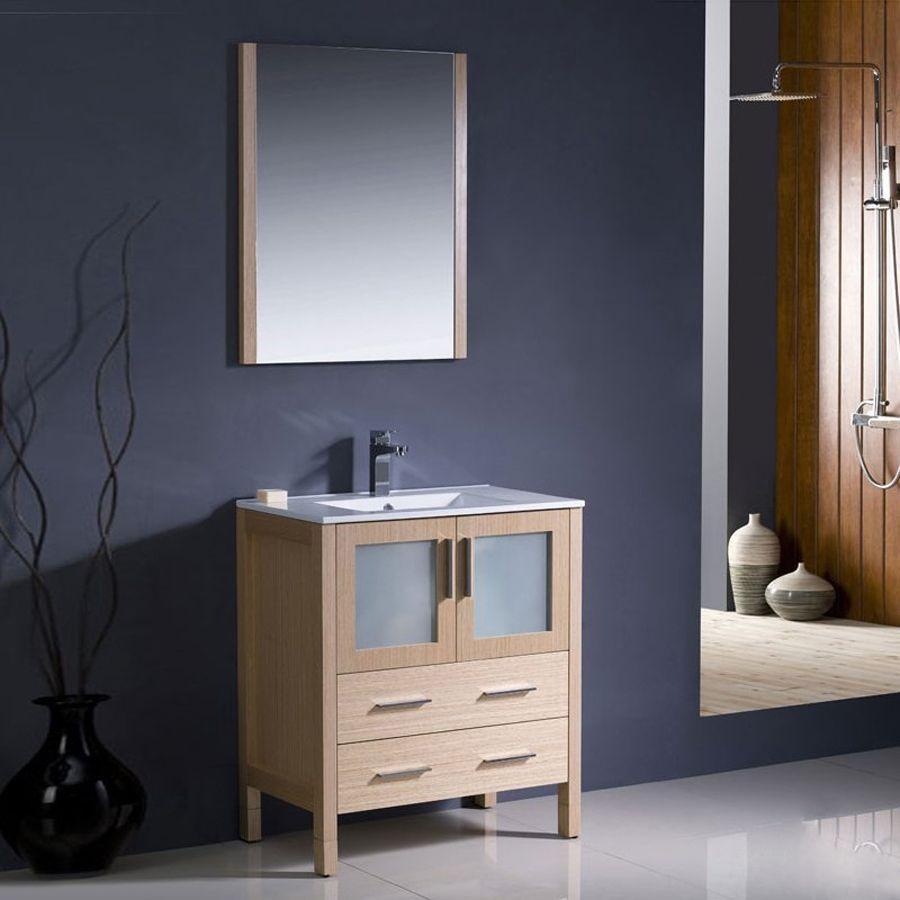 Fresca Bari Light Oak Undermount Single Sink Bathroom Vanity with