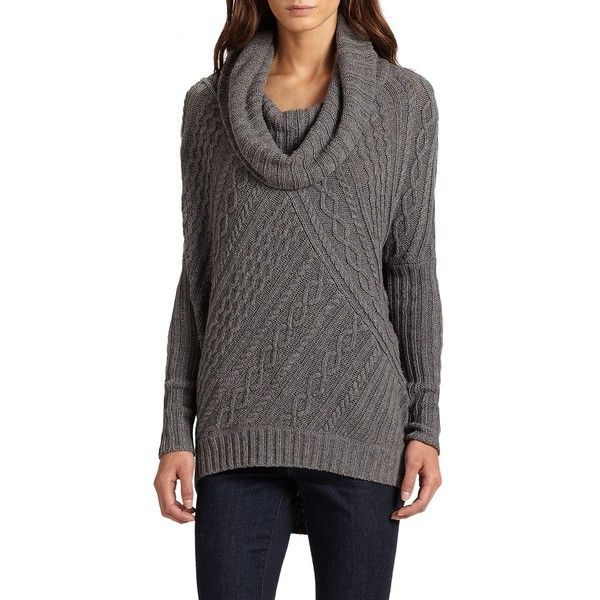 6b89bc462732a BCBGMAXAZRIA Linden Cabled Cowlneck Sweater ( 100) ❤ liked on Polyvore  featuring tops