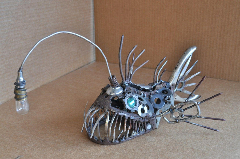 Metal art angler fish sculpture sculpture strength for Metal fish art