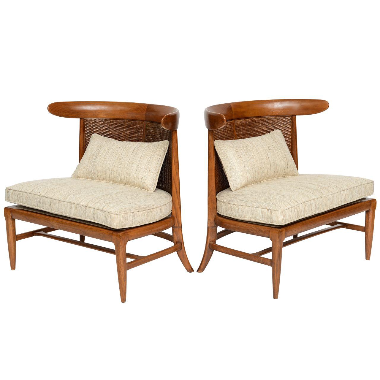 Prime Pair Of Silk Upholstered Erwin Lambeth Slipper Chairs Theyellowbook Wood Chair Design Ideas Theyellowbookinfo